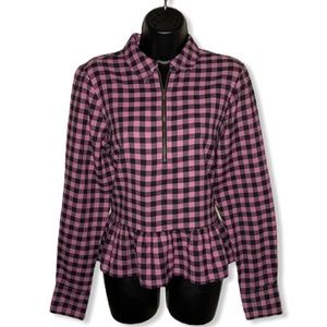 Noisy May Merik Frill Pink Plaid Peplum Fitted 1/3 Zip Front Blouse Top Sleeved